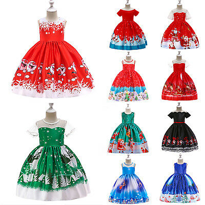 Christmas Kids Girls Sleeveless Santa Claus Swing Dress Xmas Party Fancy Dresses
