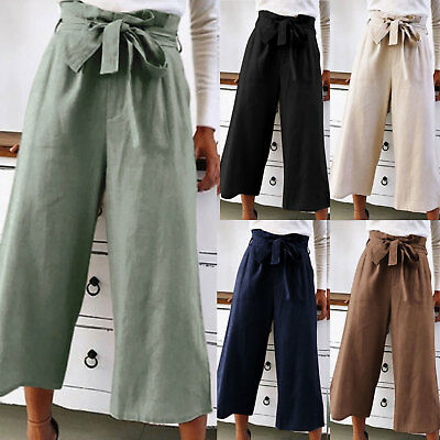 Women Palazzo Flared Wide Leg Pants High Waist Holiday Casual Culottes Trousers