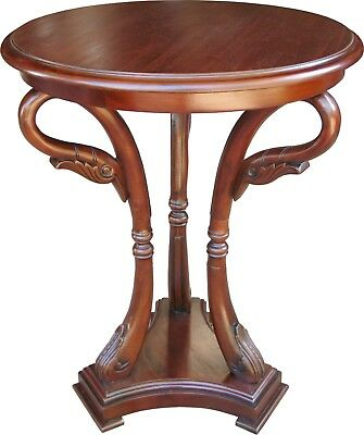 Solid Mahogany Round Swan Table / Side Table Antique Reproduction NEW T070