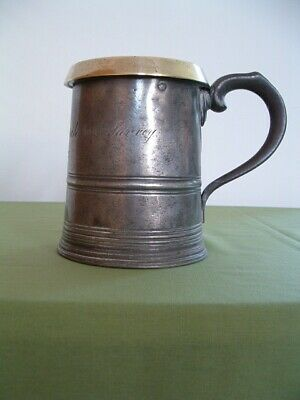 Antique Victorian quart Pewter Tankard / measure with Brass Rim