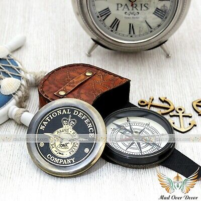 Antique Style Brass Marin National Defence Decor Poem Compass With Leather Cover