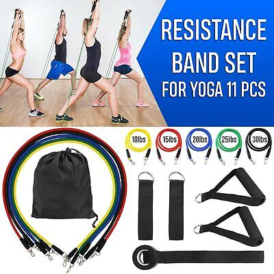 Fitness Resistance Bands Set 5 Tubes With Handles, Door Anchor, Ankle Strap E