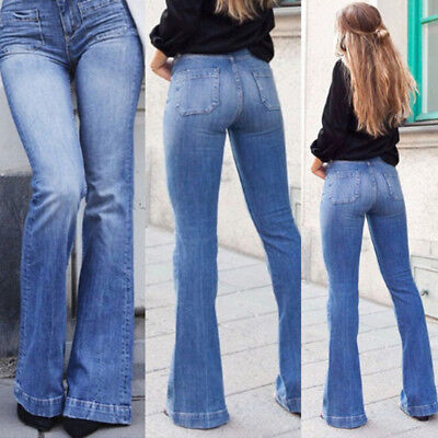 Womens Skinny Flare Denim Jeans Long Bell Bottom Stretch Pants Trousers Casual