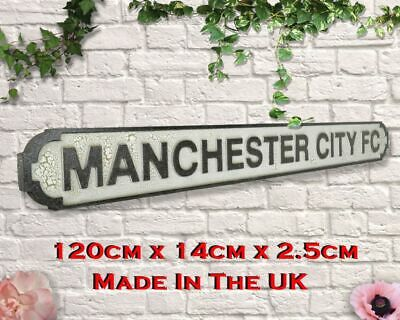 Manchester City FC XL120cm Hardwood Vintage Style Football Display/Road Sign