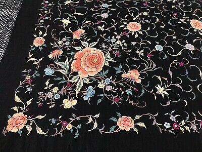 Antique 19th / 20th C Chinese Cantonese Mantilla Embroidered Silk Piano Shawl