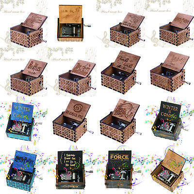 Wooden Music Box Engraved Music Box Craft Hand Crank Collectible Toy Kids Gift