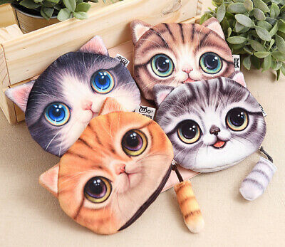 Cat Tabby Pet Fluffy Tail Toy Novelty Wallet Cute Cosmetic Pouch Coin Cable Bag