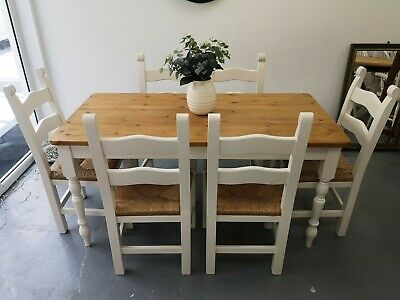 6 Seater 5ft Farrow and Ball Solid Pine Farmhouse Dining Table & 6 Chairs
