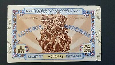 Ancien Billet De Loterie Nationale Union Des Blessés De La Face 1942