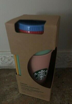 STARBUCKS COLOR CHANGING SUMMER 2019 Rainbow Reusable Cups 5 Pack New w/straws