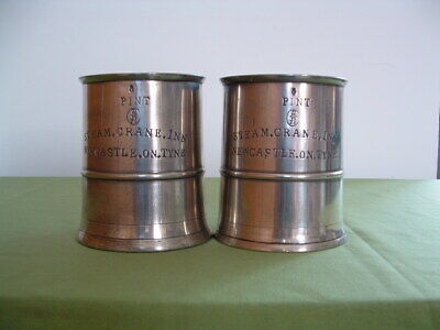 Victorian  pair of pewter measures / tankards ' Steam Crane Inn. '  Newcastle.