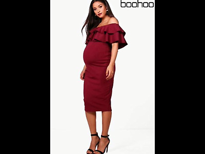 BNWT Ladies Boohoo Off the Shoulder Ruffle Midi Maternity Occassion Dress Size 8