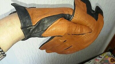 pair Vintage Mod Gloves Black and Tan leather  small