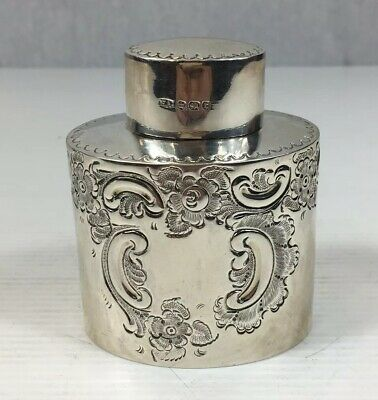 Antique 1895 Atkin Brothers Solid Silver Floral Decorated Tea Caddy/Cannister