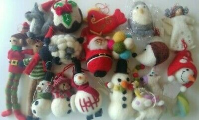 JOB LOT wholesale LUXURY CHRISTMAS TREE DECORATIONS wool handcrafted NEW