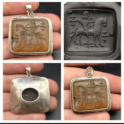 Very Antique Yellow Agte King Riding Horse Intaglio  Solid Sliver Uniqe Pendent