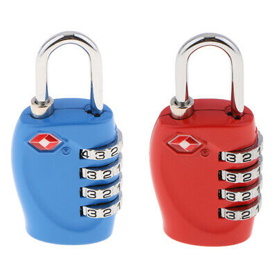 2PK TSA Approved Luggage Suitcase Lock 4Digit Combination Lock Red+Blue