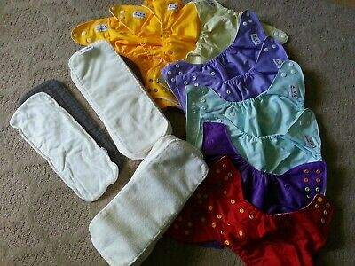 Set of 10 Alva and other brands cloth diapers , newborn to toddler  and inserts