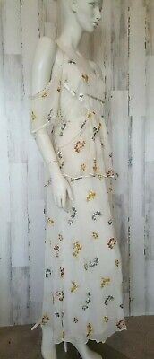 Free People maxi white romantic floral open shoulders Dress sz 8 M NWT