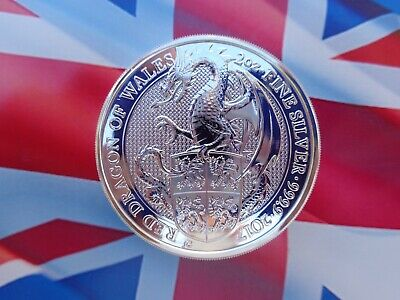 2017 GB 2 oz. Queen's Beast RED DRAGON OF WALES coin .9999 ultra-fine silver