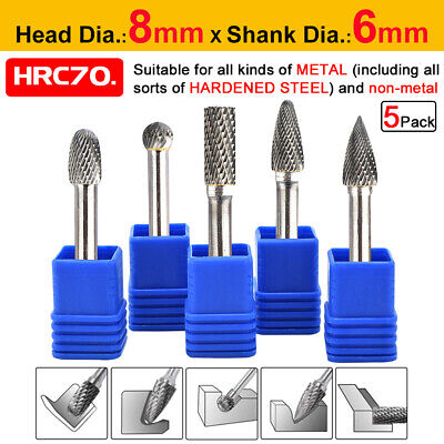 5pcs 1/4'' Tungsten Carbide Rotary Point Burr Die Grinder Shank Set 6mm Dia.8mm