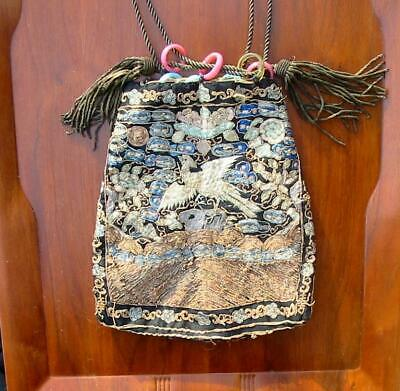 Antique Chinese Silk Embroidered Embroidery Flycatcher Rank Badge Purse #3
