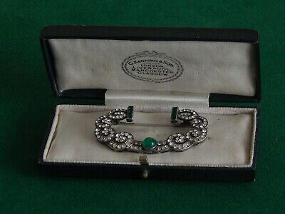 Fine Vintage French Solid Silver Diamond and Emerald Paste Brooch 1920s