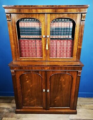 Unusual Antique / Quality Victorian Dwarf Rosewood Library Bookcase Circa 1850