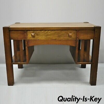 Antique Mission Oak Arts & Crafts Library Desk Work Table with Bookcase Sides