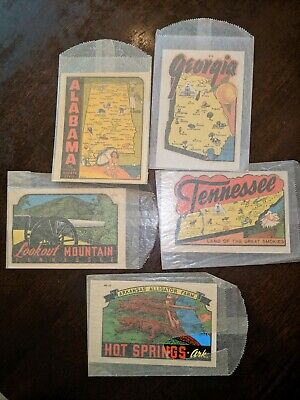 ORIGINAL VINTAGE TRAVEL DECAL  Car RV Vehicle Luggage Lot of 5