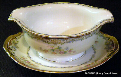 Nice MEITO china MARLBOROUGH pattern ~ Gravy Boat with Attached Under Plate