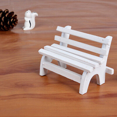 Wood Vintage White Park Long Chair Wooden Furniture Dolls House Accessories WE