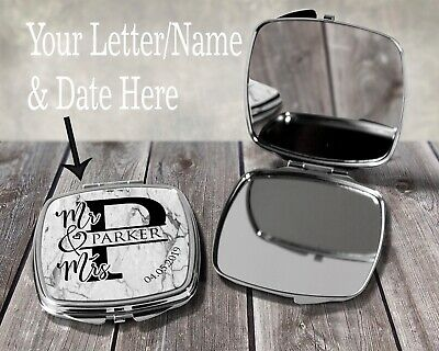 Personalised Mr & Mrs Letter - Name Date Compact Mirror Marble Wedding Gift