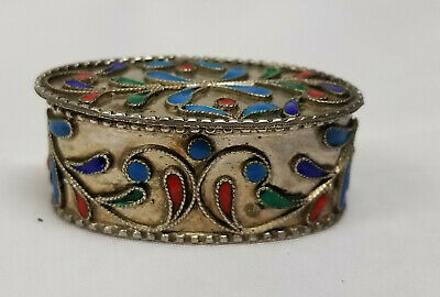 Antique Russian French Sterling Silver and Enamel Cloisonne Snuff Pill Box