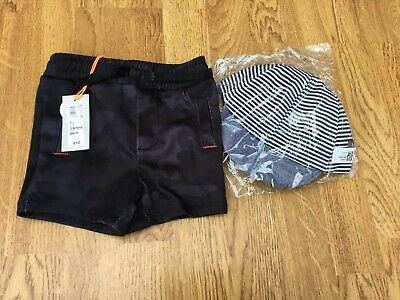 New With Tags River Island 3-6 Month Navy Casual Shorts+ New Toddlers Cap 1-2yrs