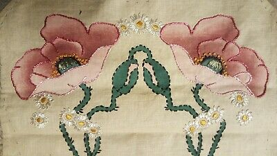 Classic Antique Arts Crafts Mission Style Stickley Era Embroidered Linen