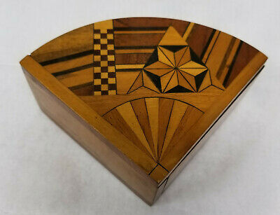 Antique Japanese Inlaid Marquetry Fan Shaped Box Pine Trinket Jewelry