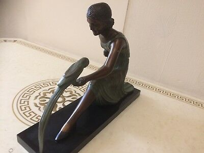 ART DECO BRONZE STATUE Chiparus  Bronze/ FIGURE HOT Ivory Girl/Lady with Parrot