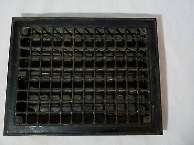 Vintage Heat Floor Register Vent Grate Large Cast Iron With Vents 11 x 13""