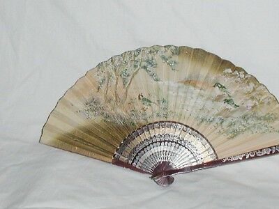 Antique or Vintage Hand Painted over Print Chinese Fan Flower Blossom Birds