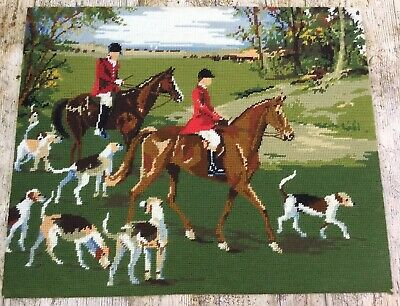 Retro Completed Penelope Tapestry Autumn Hunt Fox Hunting Hounds Countryside