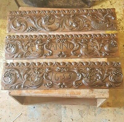 Set Of Three Carved Oak Panels Dated  1655