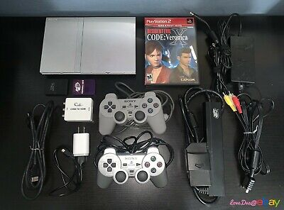 SONY PLAYSTATION 2 PS2 Silver Slim Console w/ HDMI Adapter + RE: Code Veronica