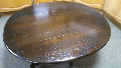 1980 ERCOL Drop Leaf / Gate leg DARK ELM Oval COFFEE TABLE - turned legs # 506