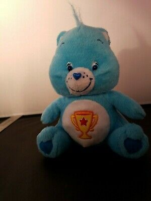 """Care Bears - 2004 Plush - 7"""" Blue Champ Bear with Trophy -"""