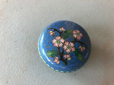 Vintage CHINA CHINESE Floral Cloisonne Round Trinket Box w/ Lid