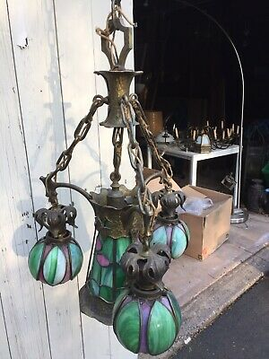 Vintage Hammered Arts & Crafts Brass Hanging Four Light Fixture Unsigned Handel