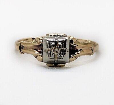 Art Deco Vintage 10k Yellow & White Gold Solitaire Diamond Engagement Ring