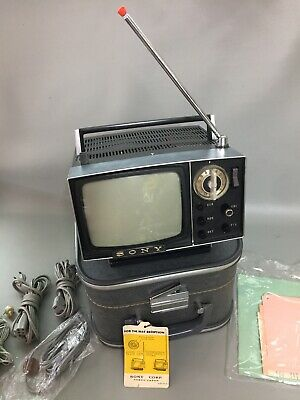 """Vintage 1963 Sony Model 5-303W Portable 5"""" Micro Suitcase TV Television W/extras"""