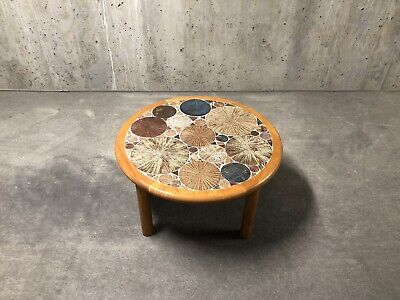 Tue Poulsen for Haslev Tile Top Teak Coffee Table Danish 1960 Mid Century Modern